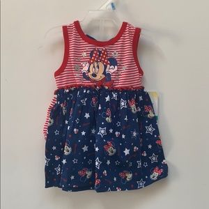 💟Minnie Mouse Dress Set Red White and Blue 3/6mos